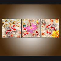 ingrosso porcellana moderna di pittura-3 pannelli Modern Giclee Print, Home Decor Cina vento Feng Shui Pesce Koi pittura Wall Art per decorazioni per ufficio Stampato su tela