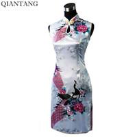 vestido de verão chinês venda venda por atacado-Venda quente branco de seda das mulheres chinesas rayou cheongsam elegante verão mini qipao dress flor s m l xl xxl mujeres vestido j5143