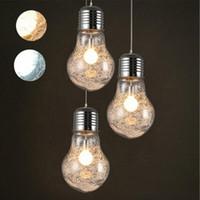 büyük ışık kolye toptan satış-LumiParty Ücretsiz Kargo Yaratıcı Kolye Işıkları Vintage Demir Cam Büyük LED Ampul Bar Depo Tavan Lambası Lambaları