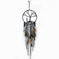 handgemachte baumverzierungen groihandel-Handgemachter schwarzer Baum des Lebens Dream Catcher Indoor Home Dekorationen Handgemachter Schmuck Quaste Kristall Anhänger Ornamente