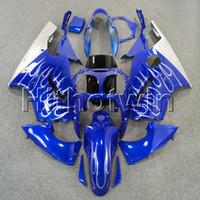 kawasaki zx12r carenagens azul venda por atacado-23colors + 8Gifts injeção molde prata chamas + azul carroçaria capuz motocicleta para Kawasaki ZX12R 2000 2001 ZX12R 00 01 ABS Fairing