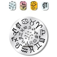 cat stamps Australia - 1pc Round Nail Art Stamping Plate Symbol Cat Dog Tree Branch Ladder Umbrella Ship Buerfly Bee Manicure Polish Stencil New Gift