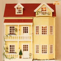 Wholesale Wood Toys Furniture Doll House - Furniture DIY Doll House Wodden Miniatura Doll Houses Furniture Kit DIY Puzzle Assemble Dollhouse Toys For Children gift A010