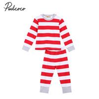 Wholesale woman s christmas pajamas - 2017 New Family Match Clothes Women Man Kids Baby Xmas Striped Nightwear Pajamas Christmas Family Matching Sleepwear Pjy Set