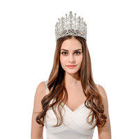 Wholesale Masquerade Hair Accessories - FeiLuanCustom 5.3inch gorgeous big pageant crystal tiara crown queen crown for masquerade hair accessories