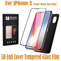 Wholesale 5d body - 2pcs Front Back Screen Protector For Apple iPhone X Film 5D Full Body Cover Rear Toughened Tempered Glass For iPhone X 10 With Retail Box