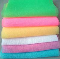 ingrosso soffioni doccia da bagno-Nylon Mesh Bath Shower Body Washing Scrubber a sfregamento a sfoglia pulito esfoliante