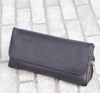 schwarze rohrverschraubungen großhandel-Neue schwarze, glatte, einzelne Tasche, Doppelschnalle, Reißverschluss, Pipe-Fittings, tragbare Ledertasche mit Doppeldeck, Direktverkauf