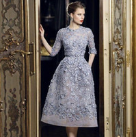 special occasion dresses full length Canada - Elegant Full Lace Knee Length Short Evening Dresses With Half Sleeve 2018 New Formal Party Gowns 3D Floral Appliqued Special Occasion Dress