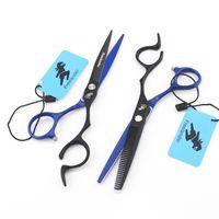 ingrosso forbici blu per il parrucchiere-2018 New Style 6.0 pollici Japan Black and Blue Professional Forbici da parrucchiere Forbici da taglio per barbiere Strumenti per taglio di capelli