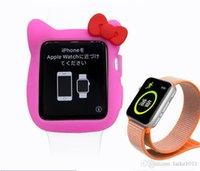 relógio a cores de 38 mm venda por atacado-Iwatch iPhone assistir cor manga de silicone manga TPU relógio criativo hello kity manga de proteção 1.2.3 edição geral