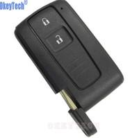 toyota anahtar fob kabuğu değiştirme toptan satış-OkeyTech Toyota Için 2 Düğmeler Araba Anahtarı Durum Kabuk Fob PRIUS 2004-2009 COROLLA VERSO Camry Yedek Bıçak ile Akıllı Anahtar Kart