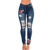 pantalones de mujer al por mayor-S-XXXL Girl Plus Size Flower Lady Fashion Pants Mujeres elegantes Cool denim pants Chicas pantalones de algodón Comfort Womens Hole Trousers A010