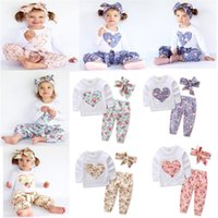 Wholesale Purple Heart Clothes - Baby girl INS heart-shaped flower Suits Kids Toddler Infant Casual Short long sleeve T-shirt +trousers+Hair band 3pcs sets pajamas clothes B