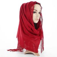 bufanda musulmana flores al por mayor-Badinka 2018 Nuevo diseñador de flor hueca Jersey de algodón Bufanda Hijab Mujeres musulmán Brillo Shimmer Hijabs Shimmer