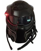 masque de prédateur achat en gros de-2017 nouveau masque de casque noir mat / noir brillant prédateurs casque de moto en fibre de verre fer homme intégral moto