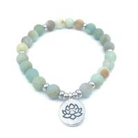 ingrosso braccialetto di fascino di om-Bracciale JLN Fashion Meditation Yoga Opaco glassato perline Amazonite con Lotus OM Buddha Charm Bracciale Yoga per uomo donna