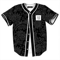 camisetas estilo beisbol al por mayor-Estilo de verano Camisas Negras para Hombres Retro China Flores Imprimir Baseball Jersey Masculino Casual con Cuello en V Camisetas Masculinas Estampas
