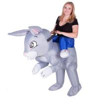 traje de coelho mascote adulto venda por atacado-Adulto Engraçado Animal Inflável Coelho Coelho Fancy Dress Costume Outfit no coelho coelho Traje Da Mascote Halloween Purim Veado