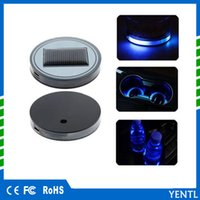Wholesale led trims - free shipping 2x Solar Water Cup Holder Bottom Pad LED Light Cover Trim Atmosphere Lamp For car Mazda 6 Atenza BMW Audi toyota universal