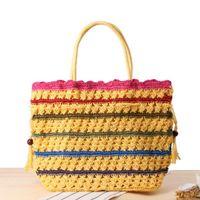Wholesale Pump Weaves - Rainbow pumping straw bag Korean fashion high-capacity shoulder bag travel vacation beach leisure woven bag handbags