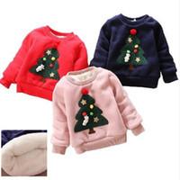 Wholesale christmas tree sweatshirt - Winter Kids Boys Girls Christmas Sweater baby Plus Velvet Thick Sweatshirts 2017 Children Girls Christmas tree Warm Tops