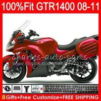 zx14 verkleidung rot großhandel-Einspritzungs-Körper für KAWASAKI Dunkelheit NINJA GTR1400 08 09 10 11 116HM11 GTR-1400 GTR 1400 ALLE 2008 2009 2010 2011 Glanz rotes Verkleidung Kit + 8Gifts