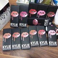 Wholesale White Liquid Liner - Latest KYLIE JENNER LIP KIT liner Kylie Lipliner pencil Velvetine Liquid Matte Lipstick in Red Velvet Makeup Lip Gloss Make Up 40 colors