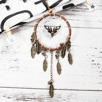 Wholesale Sheets Crafts - Indian Style Dream Catcher Creative Antique Alloy Feather Dreamcatcher Wall Hanging Craft Gift New 7 6xr C