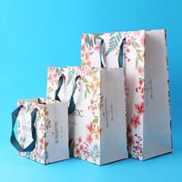ingrosso grandi scatole da regalo rosa-Sacchetti di shopping personalizzati Sacchetti per la spesa a mano Spot Abbigliamento Sacchetto ecologico Confezione Bella fiori stampa regalo Wrap all'ingrosso
