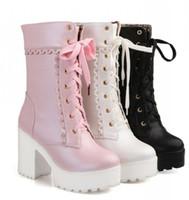 saltos cosplay venda por atacado-Atacado-Lolita rosa preto branco lace up amarrado sapatos de salto alto estudante doce senhora cosplay plataforma chunky bloco meados de bezerro botas curtas 43