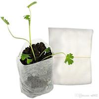 suministros de vivero ollas al por mayor-100 unids en un conjunto tela no tejida Nursery Pots Bag botánica plántulas planteando la plantación nutrición bolsas Eco Friendly Garden Supplies 1 45yr bb