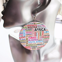 boucles d'oreilles africaines pour les femmes achat en gros de-5 paires de prix en gros pays africain nom rond boucles d'oreilles en bois Drop For Women Party