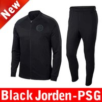 Wholesale 18 PSG black soccer jacket sets Paris Saint Germain DI MARIA NEYMAR champions traning suit football tracksuit