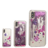 Wholesale Butterfly Iphone Covers - Rainbow Flowers Bling Liquid Soft TPU Case For Iphone 7 6s X Galaxy S7 S8 Note 8 Skull Glitter Quicksand Butterfly Sparkle Cover