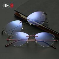 7737b3d7899 2017 New Fashion Cat Rimless Glasses Frame Women Metal Vintage Myopia  Eyeglasses Frame Oculos De Grau Femininos Plain Lens