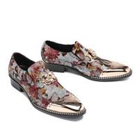 Wholesale oxford shoes 39 men resale online - Golden iron men s business dress shoes ochre printed borgues Oxfords breathable shoes men size