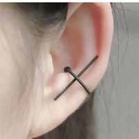 Wholesale Earing Cuffs - Non pierced cross earcuff earring without hole fashion female woman cool jewelry one on no pierced ear clip earing cuff jewelry