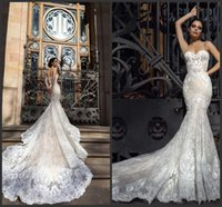 Wholesale fitted sexy wedding dresses for sale - Group buy New Crystal Design Mermaid Wedding Dresses Sweetheart Fitted Lace Appliques Robe De Soiree Arabic Sexy Bridal Gowns with Court Train