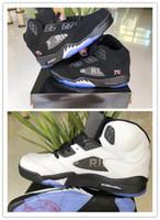 v 75 toptan satış-Yeni 5 V paris Düşük 5 s 75 siyah beyaz erkekler basketbol ayakkabıları spor sneakers eğitmenler ucuz kaliteli boyutu 8-13