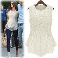 Wholesale crochet blusa - 2018 New Summer Design Women Fashion Lace Blouses Sexy Plus Size Crochet Chiffon Tops Women Blusa Renda Sleeveless Shirts 5XL