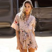 a3d5d911045a ... Print Ruffles Playsuits Women Elegant Autumn White V Neck Jumpsuits  Rompers Sexy Beach Girls Short Overalls. 48% Off