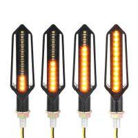 indicador de flujo al por mayor-4 pcs LED Motocicleta Luces de señal de giro Luz indicadora de agua que fluye Indicadores DRL Parpadeantes lámpara de freno intermitente