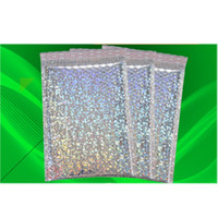 Wholesale Holographic Film Poly Bubble Mailer Sliver Express Packaging Bag Portable Colourful Aluminizer Home Storage Bubbles Bags xr bb