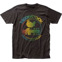 Wholesale guitar clothes - Quality Shirts New Style Authentic Woodstock 3 Days Peace & Music Colorful Logo Guitar Bird T-shirt top Anime Casual Clothing
