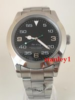 relógio de rei aaa venda por atacado-AAA 2813 Preto Top marca de luxo Mens Mecânico de Aço Inoxidável Movimento Automático AIR KING Assista Sports Auto-vento Relógios relógio de Pulso