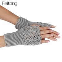 frauen strickhandschuhe großhandel-Neue Absatz Stricken Fingerlose Handschuhe Frauen Mode Dame Lässig Herbst Winter Handschuhe Mädchen Frauen Hand Handschuhe Luvas #JOYL Y18102210