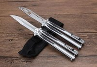 """Wholesale Fantasy Butterflies - Hot ! MICROTECH Tachyon III Balisong Butterfly Knife BM42 Pressure bomb type (4.25"""" stain) ball-bearing D2 blade All-Steel handle EDC Knives"""