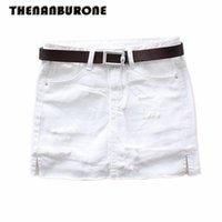 Wholesale Women Mini Jeans Skirt - THENANBURONE Sexy Women White Jean Skirt 2017 New Holes Mini Jeans Skirts Womens Denim Plus Size XXL Black Straight Jeans Skirt