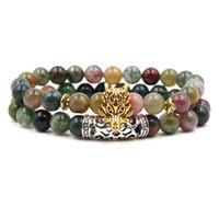 charme armbänder indien großhandel-Indien achat stein perlen braceet 2 Teile / satz Frauen Männer eule krone löwen leopard Buddha Charme Yoga Meditation Chakra Braclet Naturstein Armband